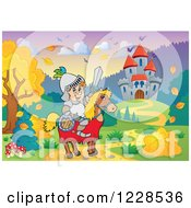 Clipart Of A Knight And Steed Near A Castle And Autumn Landscape Royalty Free Vector Illustration