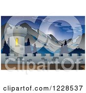 Clipart Of A Castle Tower In The Mountains Royalty Free Vector Illustration by visekart