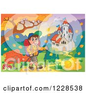 Clipart Of A Male Hiker By A Castle And Autumn Landscape With A Sign Royalty Free Vector Illustration