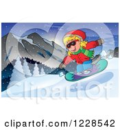 Clipart Of A Girl Snowboarding On A Mountain Royalty Free Vector Illustration