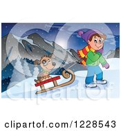 Clipart Of A Boy Pulling A Dog On A Sled Up A Hill Royalty Free Vector Illustration