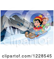 Clipart Of A Boy And Girl On A Sled In The Mountains Royalty Free Vector Illustration