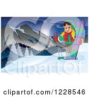 Clipart Of A Girl With Skis On A Mountain Royalty Free Vector Illustration by visekart