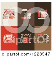 Clipart Of Hot Coffee Icons Royalty Free Vector Illustration by elena