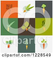 Clipart Of Carrot Icons On Different Colored Backgrounds Royalty Free Vector Illustration