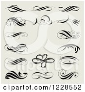 Clipart Of Ornate Flourishes And Scrolls On Beige Royalty Free Vector Illustration by elena