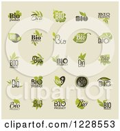 Clipart Of Bio Organic And Natural Labels On Beige Royalty Free Vector Illustration