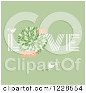Clipart Of Birds And I Love You Text On Green Royalty Free Vector Illustration by elena