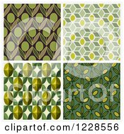 Clipart Of Seamless Green Olive Pattern Backgrounds Royalty Free Vector Illustration by elena