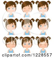 Clipart Of Poses Of A Brunette Girl In Pigtails Royalty Free Vector Illustration