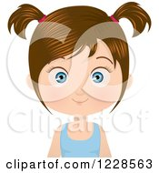 Happy Brunette Girl In Pigtails
