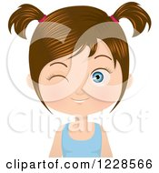 Winking Brunette Girl In Pigtails