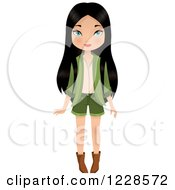 Clipart Of A Long Haired Young Asian Woman In A Green Outfit Royalty Free Vector Illustration