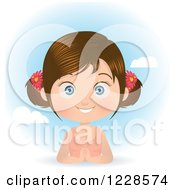 Clipart Of A Happy Brunette Girl In Pigtails Over A Spring Time Sky Royalty Free Vector Illustration