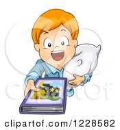 Clipart Of A Red Haired Caucasian Boy Holding Up A Story Book At Bed Time Royalty Free Vector Illustration