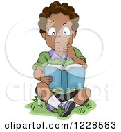 Clipart Of A Thoughtful African American Boy Reading A Book Outside Royalty Free Vector Illustration