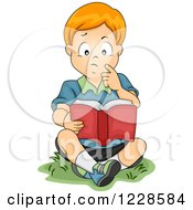 Clipart Of A Thoughtful Red Haired Caucasian Boy Reading A Book Outside Royalty Free Vector Illustration