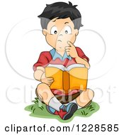 Clipart Of A Thoughtful Asian Boy Reading A Book Outside Royalty Free Vector Illustration