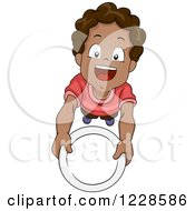 Clipart Of A Hungry African American Boy Holding Up A Plate Royalty Free Vector Illustration