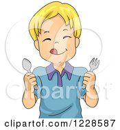 Clipart Of A Hungry Blond Caucasian Boy Holding Silverware Royalty Free Vector Illustration