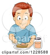 Clipart Of A Happy Caucasian Boy Making A Sandwich Royalty Free Vector Illustration