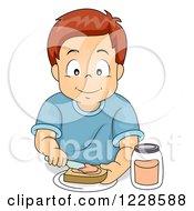 Happy Caucasian Boy Making A Sandwich