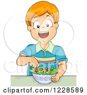 Clipart Of A Happy Red Haired Caucasian Boy Ating A Salad Royalty Free Vector Illustration by BNP Design Studio