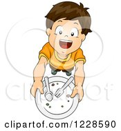 Clipart Of A Happy Brunette Caucasian Boy Holding Up A Clean Plate And Wanting More Royalty Free Vector Illustration