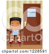 Clipart Of A Bullied African American Boy Waiting At The Principals Office Royalty Free Vector Illustration by BNP Design Studio