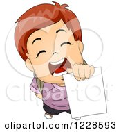 Clipart Of A School Boy Holding Up His Report Card Royalty Free Vector Illustration
