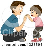 Clipart Of A Happy Caucasian Dad And Son Playing Royalty Free Vector Illustration