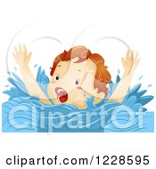 Clipart Of A Caucasian Boy Screaming For Help While Drowning Royalty Free Vector Illustration