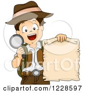 Happy Boy Holding A Treasure Map And Magnifying Glass