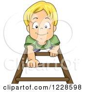 Happy Blond Caucasian Boy Climbing Up A Ladder