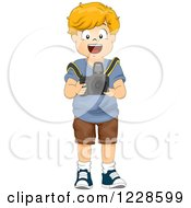 Clipart Of A Happy Caucasian Boy Using A Camera Royalty Free Vector Illustration by BNP Design Studio
