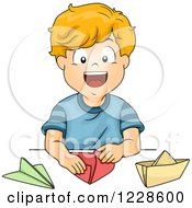 Clipart Of A Happy Caucasian Boy Making Paper Boats And Planes Royalty Free Vector Illustration by BNP Design Studio