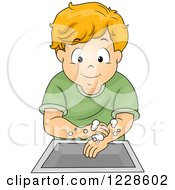 Clipart Of A Happy Caucasian Boy Washing His Hands Royalty Free Vector Illustration