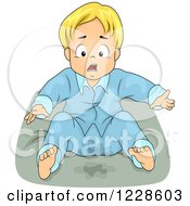 Clipart Of A Shocked Blond Boy Wetting His Bed Royalty Free Vector Illustration