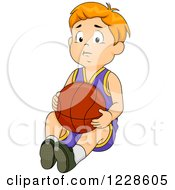 Clipart Of A Sad Caucasian Boy Sitting With A Basketball Royalty Free Vector Illustration by BNP Design Studio