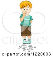 Clipart Of A Guilty Boy Standing Over A Broken Plate Royalty Free Vector Illustration