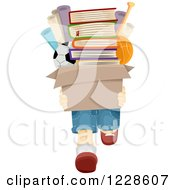 Clipart Of A Boy Carrying A Box Full Of Books And Toys Royalty Free Vector Illustration by BNP Design Studio