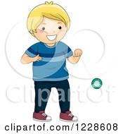 Clipart Of A Talentined Blond Caucasian Boy Playing With A Yoyo Royalty Free Vector Illustration
