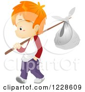Clipart Of A Red Haired Runaway Boy With A Bundle Royalty Free Vector Illustration