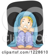 Clipart Of A Scared Blond Caucasian Boy Hiding In The Dark Royalty Free Vector Illustration