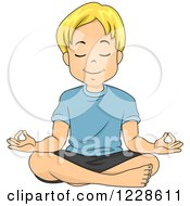 Clipart Of A Relaxed Blond Caucasian Boy Meditating Royalty Free Vector Illustration