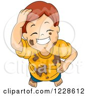 Grinning Red Haired Caucasian Boy In Muddy Clothes