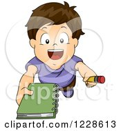 Clipart Of A Brunette Caucasian Boy Asking For An Autograph Royalty Free Vector Illustration