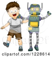 Clipart Of A Happy Brunette Caucasian Boy Dancing With A Livesize Robot Royalty Free Vector Illustration