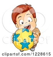 Clipart Of A Caucasian Boy Holding Up A Ball And Wanting To Play Royalty Free Vector Illustration