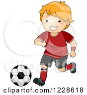 Clipart Of A Happy Red Haired Caucasian Boy Playing Soccer Royalty Free Vector Illustration by BNP Design Studio